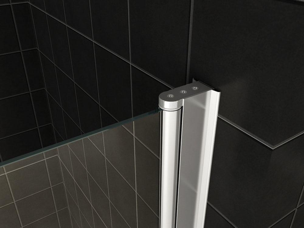 Wiesbaden badwand 2-delig inklapbaar 1000x1400 6mm NANO chroom