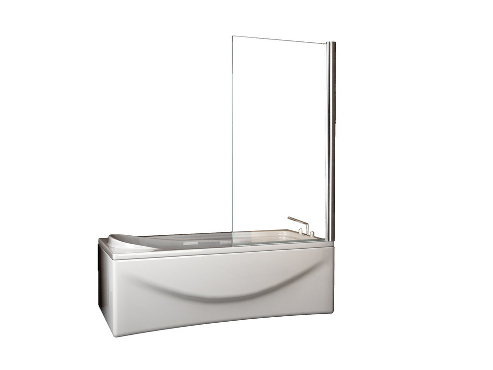 Wiesbaden draaibare badwand 800x1500 6mm NANO chroom