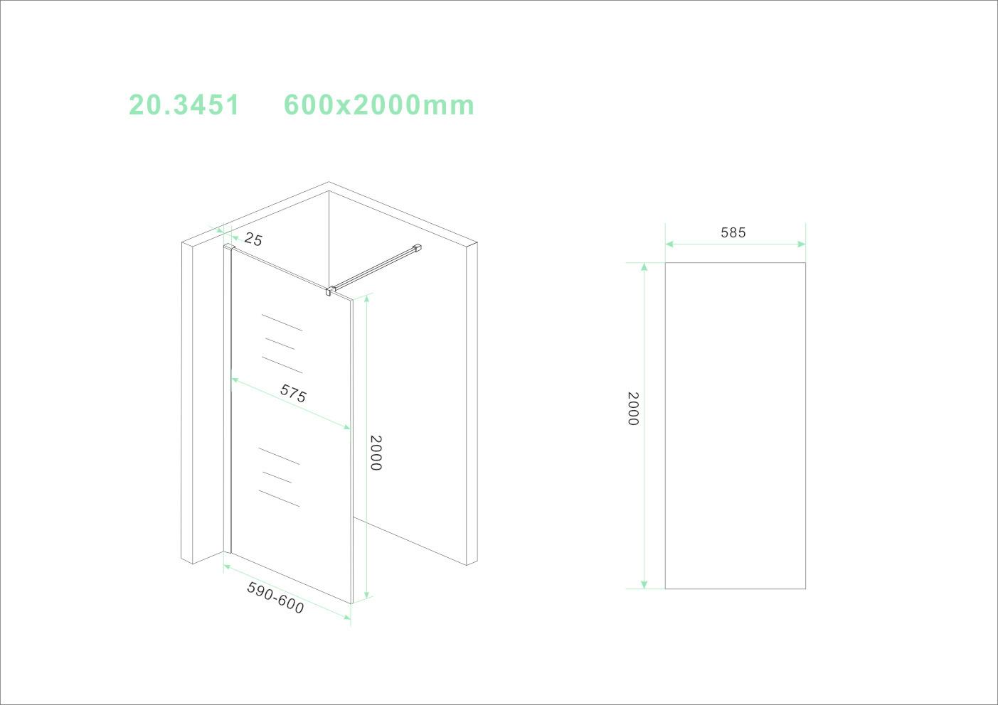 Wiesbaden Slim glasplaat helder 600x2000 8mm nano