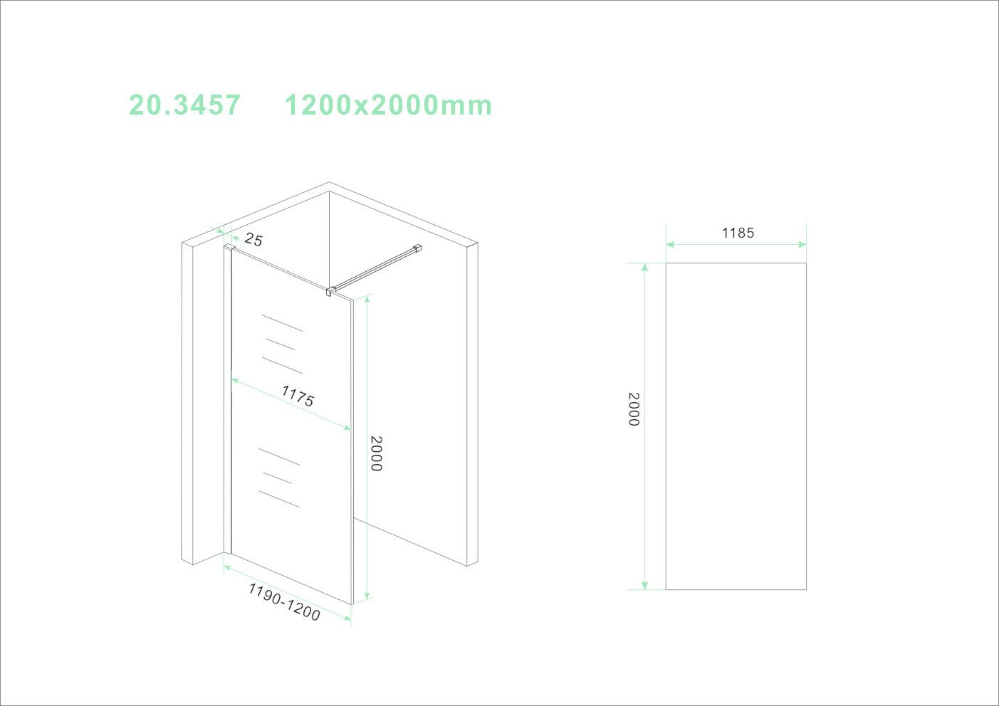 Wiesbaden Slim glasplaat helder 1200x2000 8mm nano