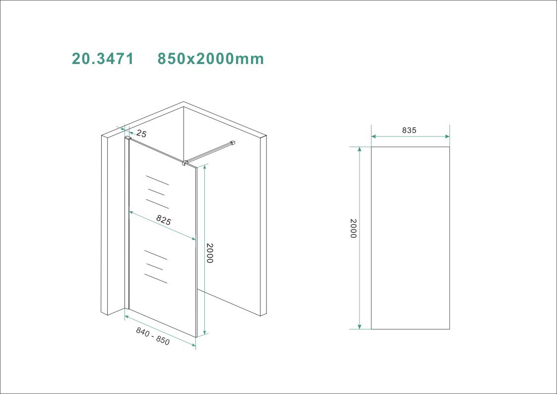 Wiesbaden Slim glasplaat helder 850x2000 8mm nano