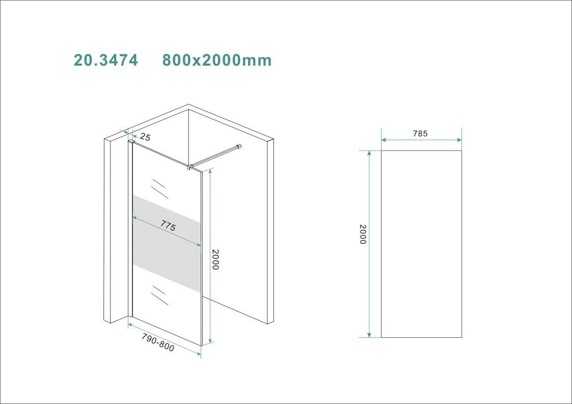 Wiesbaden Slim glasplaat ged.matglas 800x2000 8mm nano
