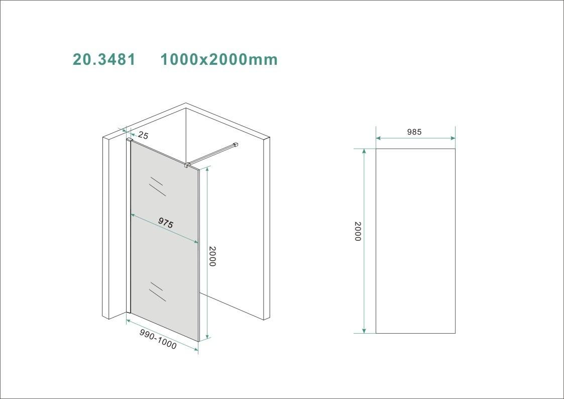 Wiesbaden Slim glasplaat rookglas 1000x2000 8mm nano