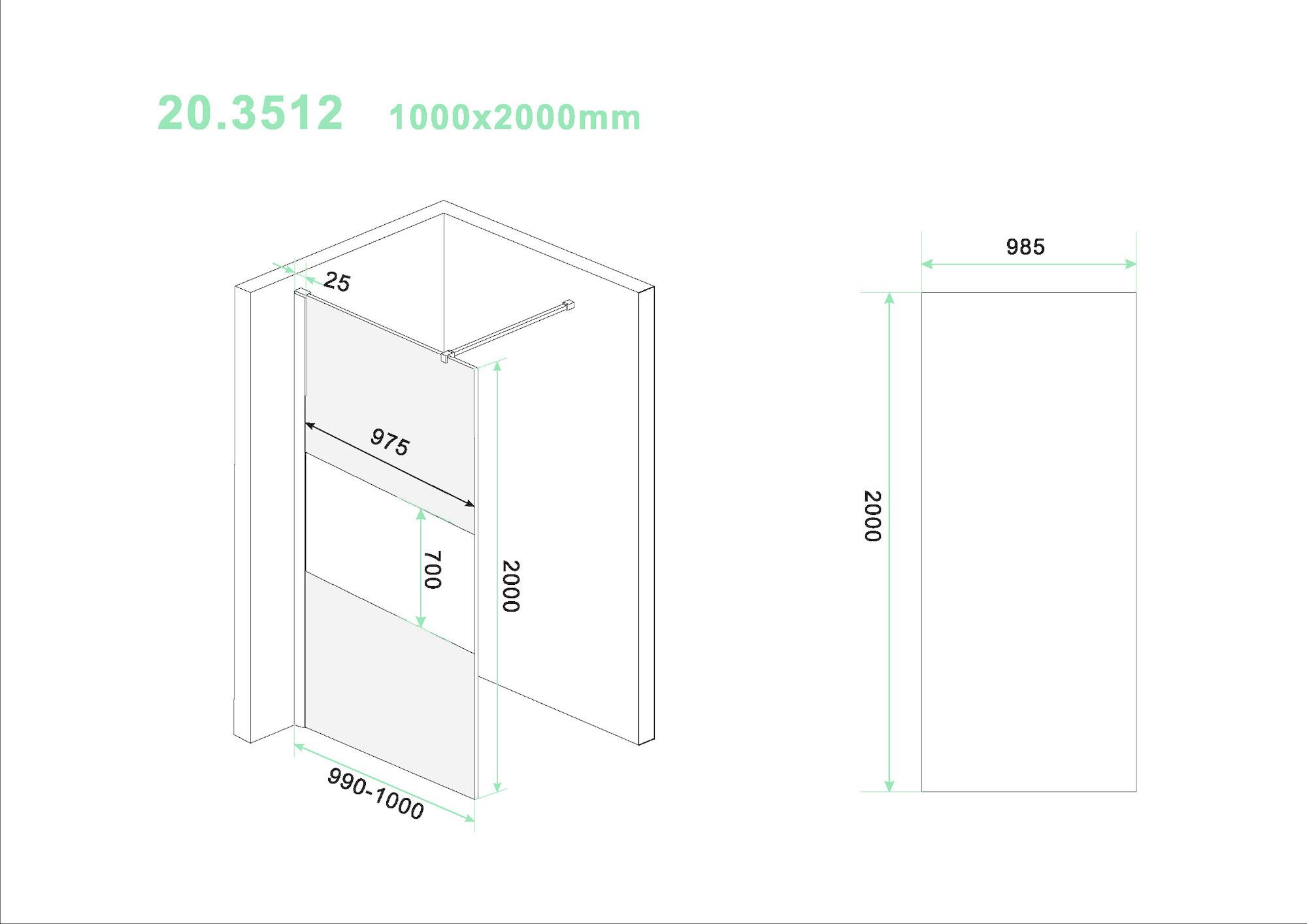 Wiesbaden Slim glasplaat ged.mat rookglas 1000x2000 8mm nano