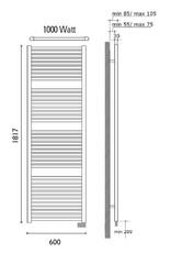 Wiesbaden Elara elektrische radiator 181,7 x 60 cm wit