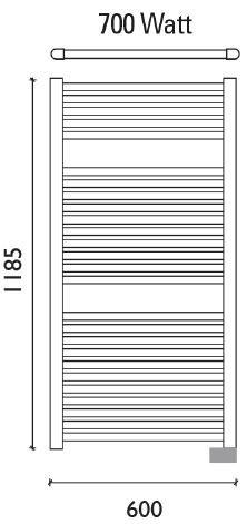 Wiesbaden Elara elektrische radiator 118,5 x 60 cm wit
