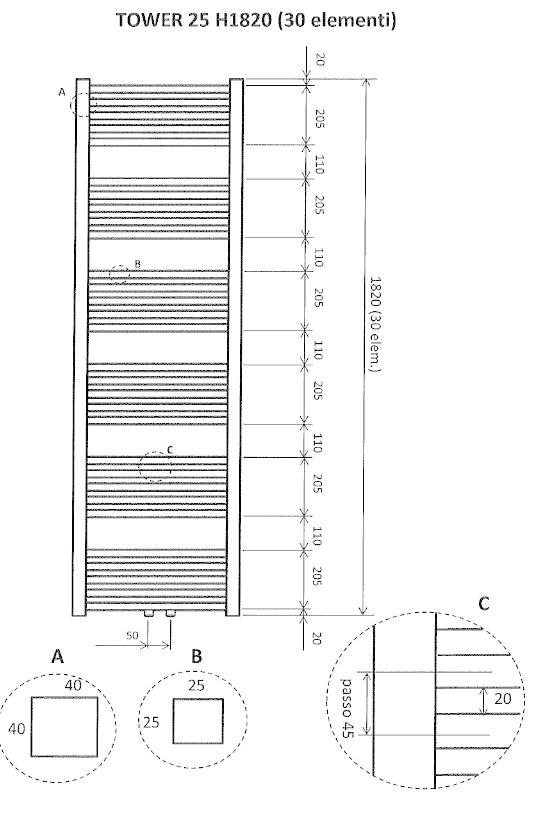 Wiesbaden Tower sierradiator mat zwart 1820x600 m/o aansl.
