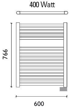 Wiesbaden Elara elektrische radiator 76,6 x 60 cm mat-zwart