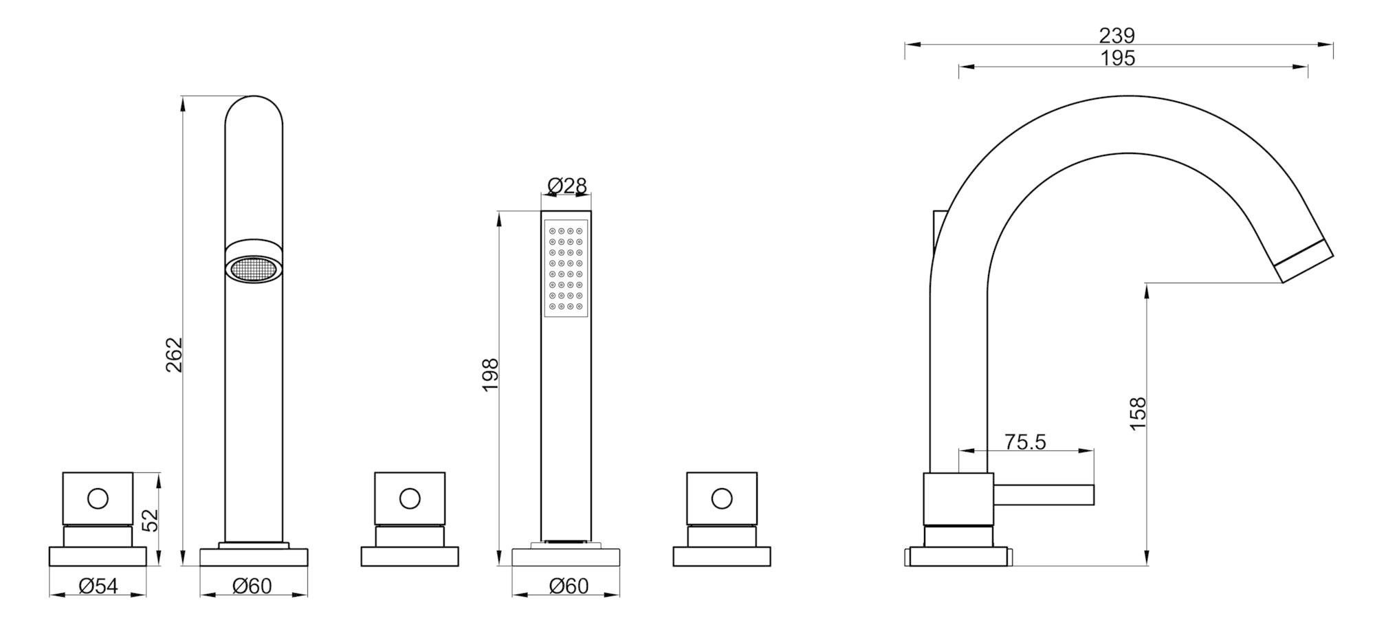 Wiesbaden Caral 5-gats badrandcombinatie geborsteld staal