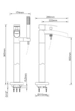 Wiesbaden Lima vrijstaande badmengkraan waterval compleet geborsteld staal