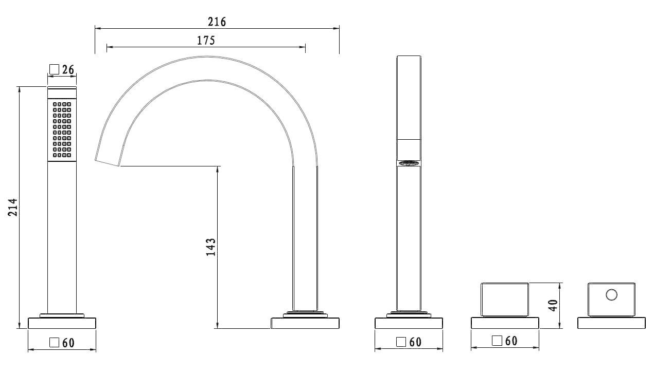 Wiesbaden Rombo 4-gats badrandthermostaat chroom afbouwset
