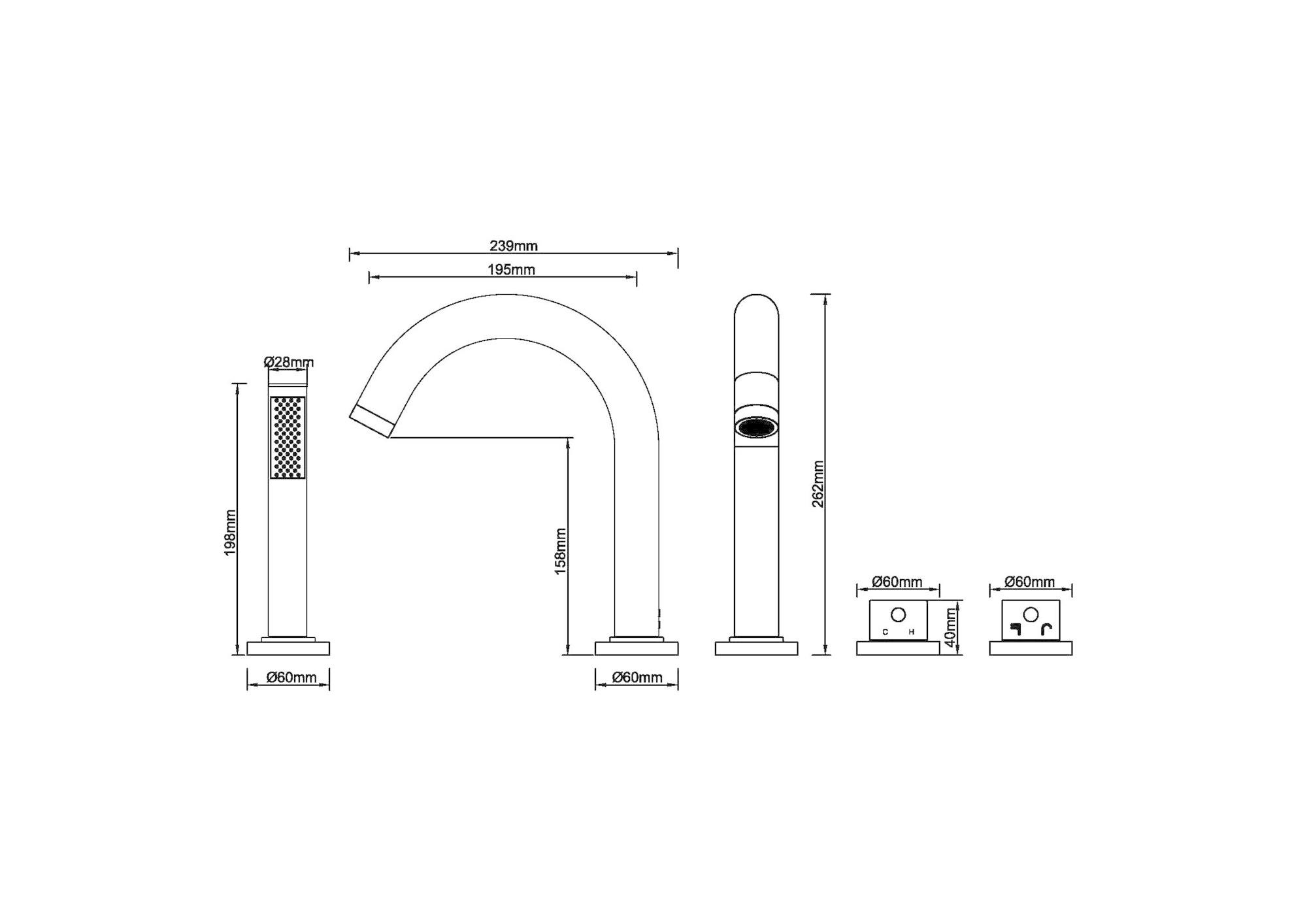 Wiesbaden Caral 4-gats badrandthermostaat afbouwset geborsteld koper