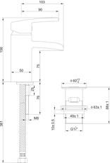 Wiesbaden Rombo waterval-wastafelkraan + clickwaste geborsteld staal