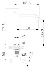 Wiesbaden Style XL hoge wastafelmengkraan geborsteld koper