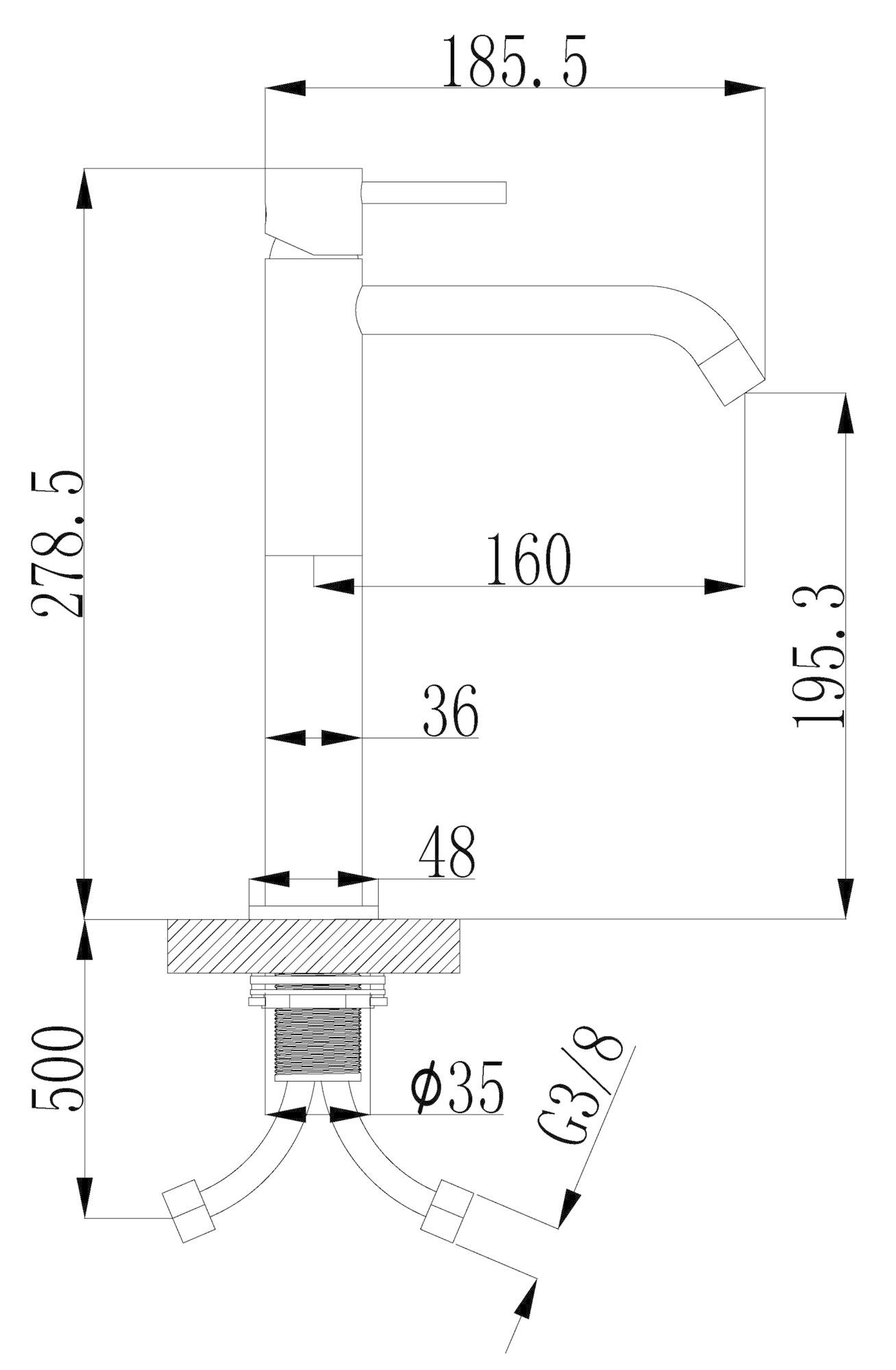 Wiesbaden Style XL hoge wastafelmengkraan geborsteld messing