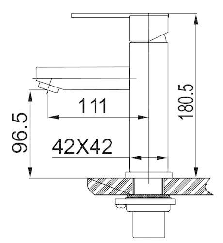 Wiesbaden 304-Victor RVS wastafelmengkraan vierkant