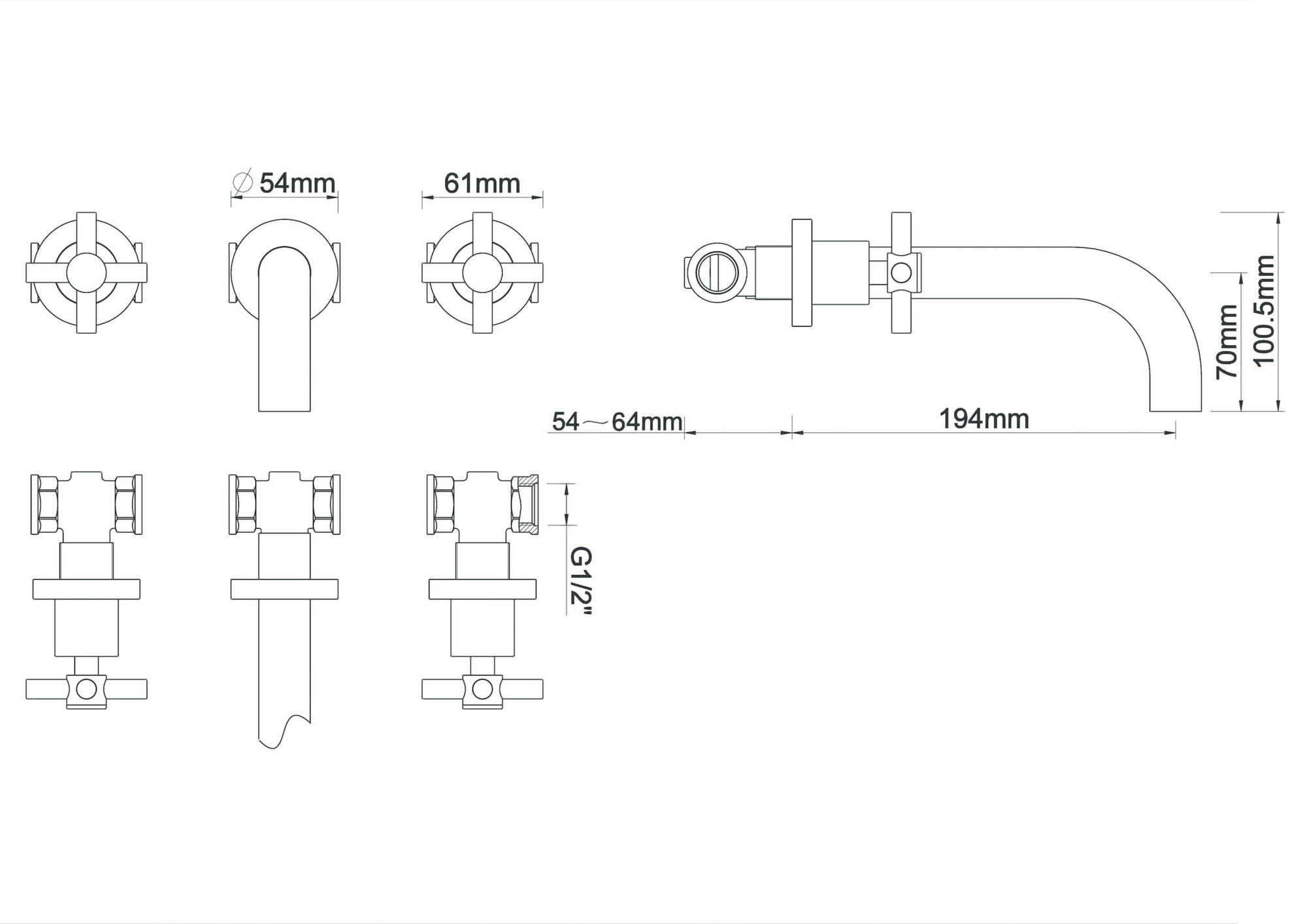 Wiesbaden Cross inbouw-wastafelmengkraan 2-knops geborsteld staal
