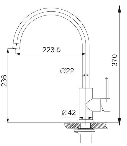 Wiesbaden 304-Austin RVS Keukenkraan hooggebogen uitloop