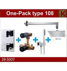 Wiesbaden one-pack inbouwthermostaatset type 108 CHR (30cm)