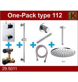 Wiesbaden one-pack inbouwthermostaatset type 112 CHR (30cm)