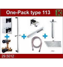Wiesbaden one-pack inbouwthermostaatset type 113 CHR (20cm)