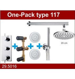 Wiesbaden one-pack inbouwthermostaatset type 117 CHR