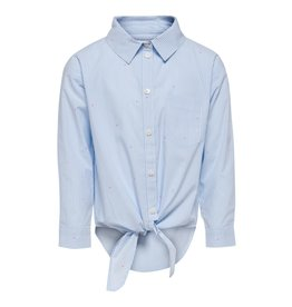 Kids Only Blouse Anne hartjes cropped wit / lichtblauw