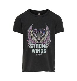 Kids Only Shirt Lucy life wings top strong wings zwart