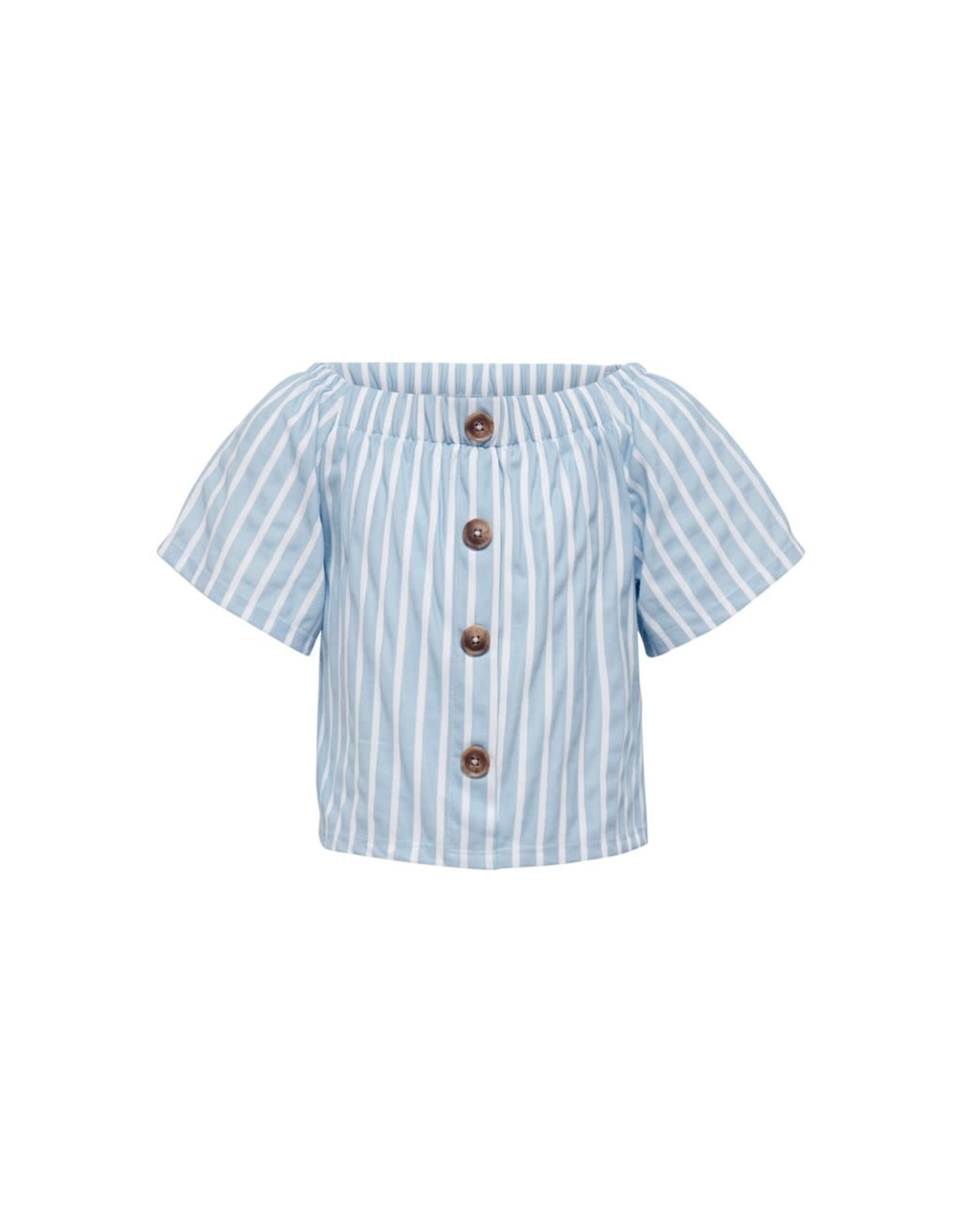 Kids Only Top Jany off shoulder wit / blauw