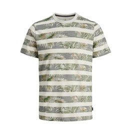 Jack & jones junior T-shirt Dustin blu. crew neck grijs / groen