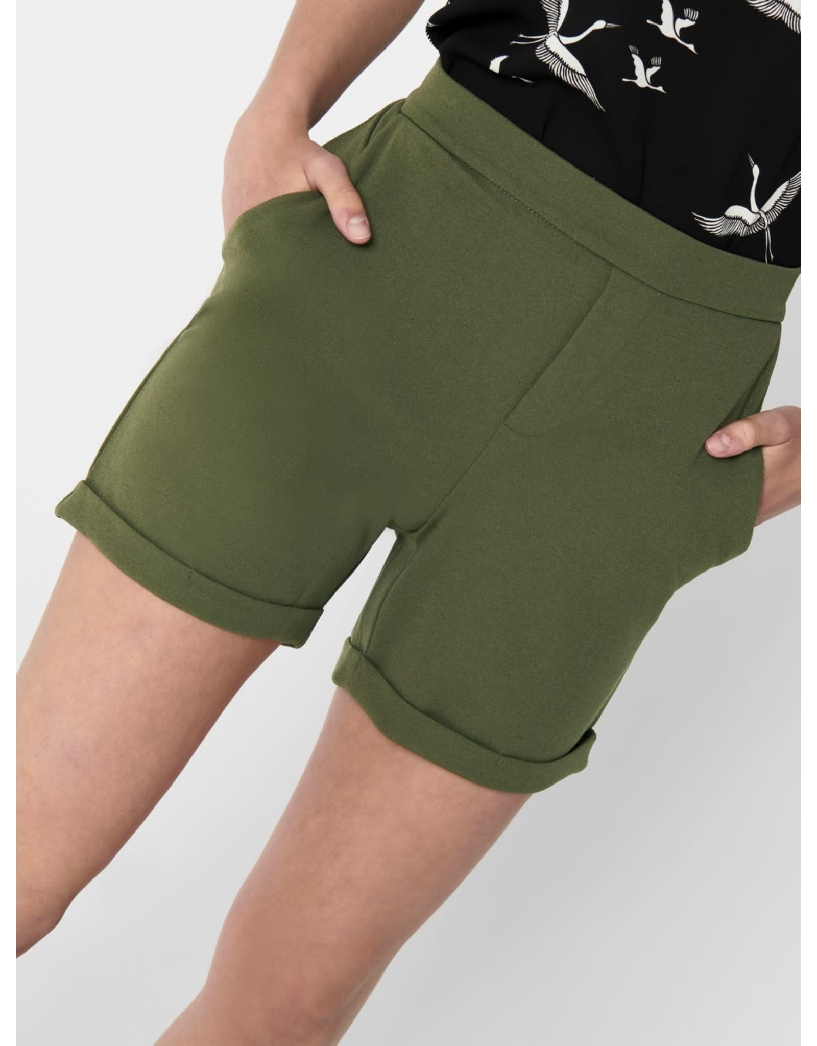 Jacqueline De Yong Short midi Catia treats fold up groen