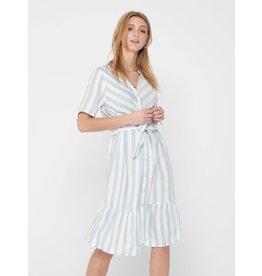 Jacqueline De Yong Jurk Sally shirt blauw  / wit