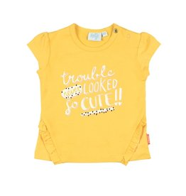 Feetje T-shirt Trouble Never Looked - Kiss geel