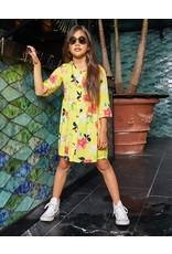 Kids Only Jurk Ella button geel gebloemd