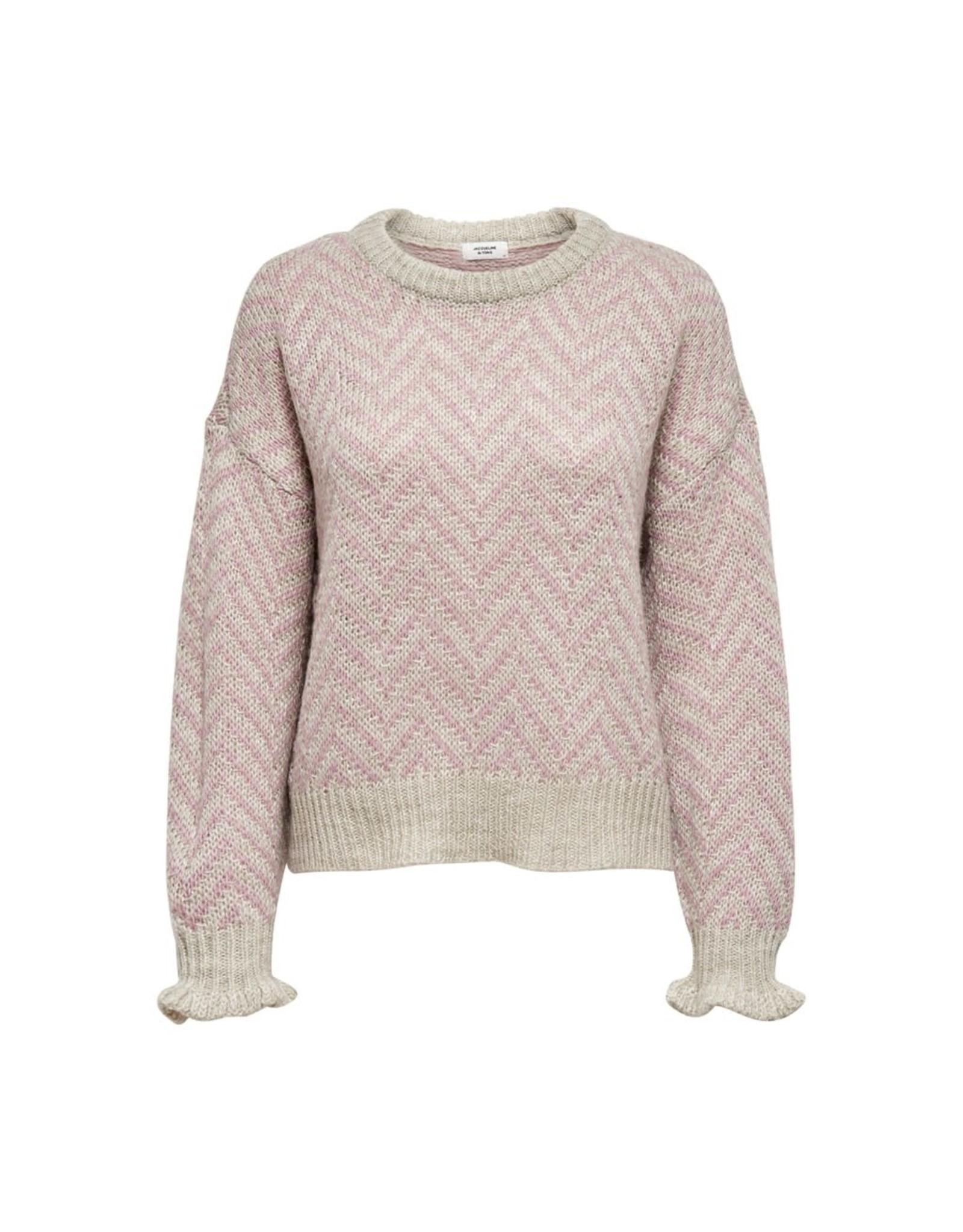 Jacqueline De Yong Pullover Sabine zigzag roze