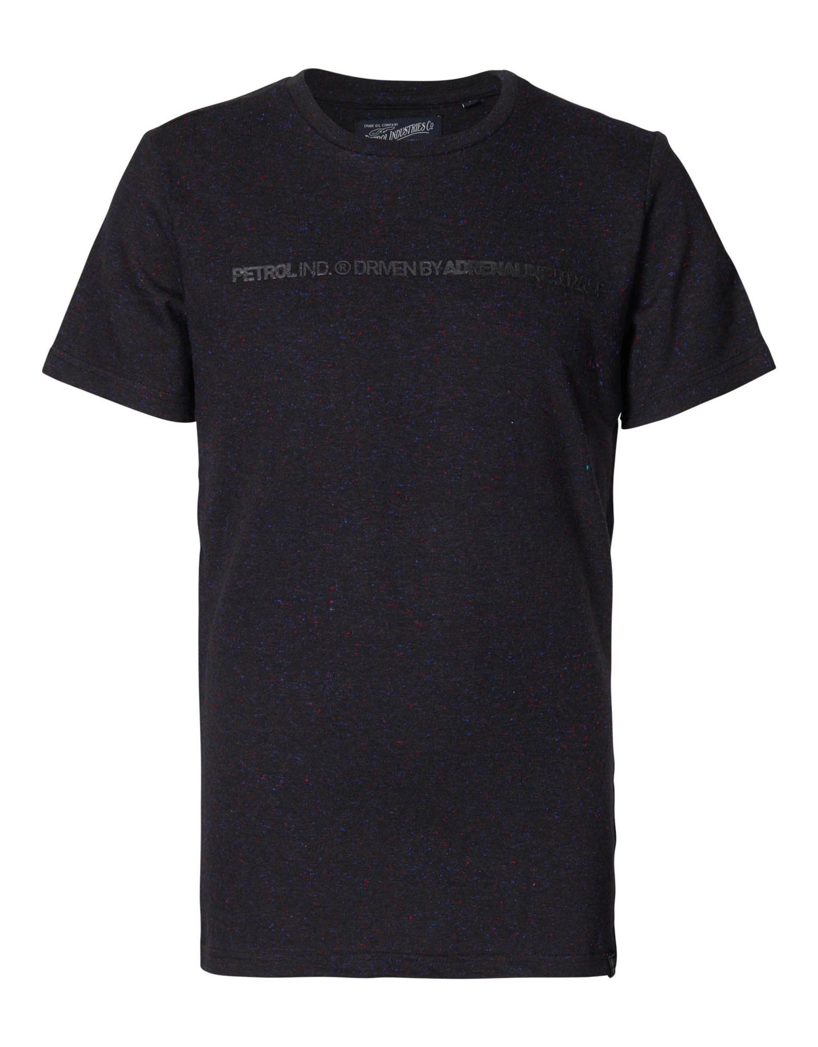 Petrol T-shirt zwart met rode vlekjes