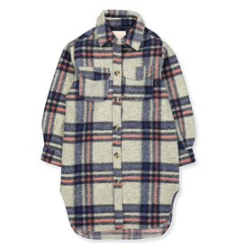 Kids Only Vest Lou geruit lang grijs / blauw / roze