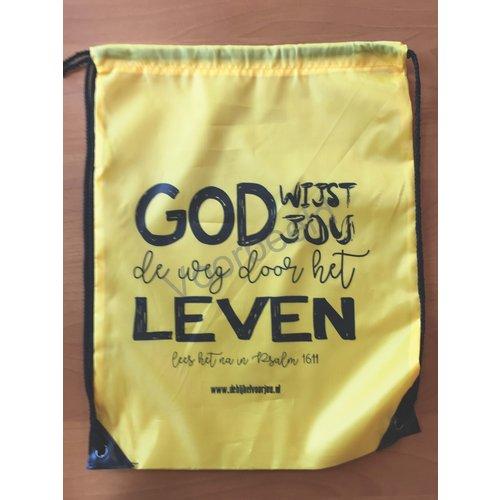 Rugzak met de tekst: God wijst jou de weg door het leven