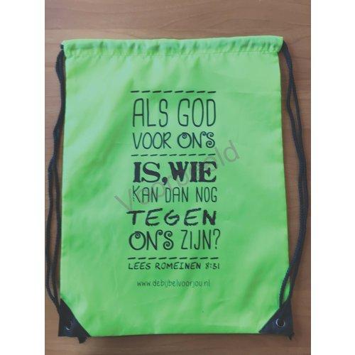 Rugzak met de tekst: Als God voor ons is, wie kan dan nog tegen ons zijn?