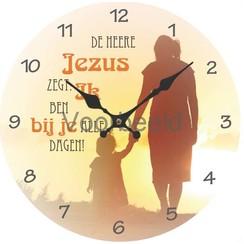 Klok met tekst: De Heere Jezus zegt: Ik ben bij je alle dagen