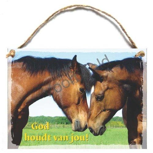 Houten tekstbord A5 met de tekst: God houdt van jou!