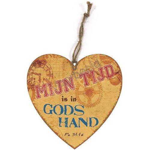 Hartvormig wandbord met de tekst: Mijn tijd is in Gods hand