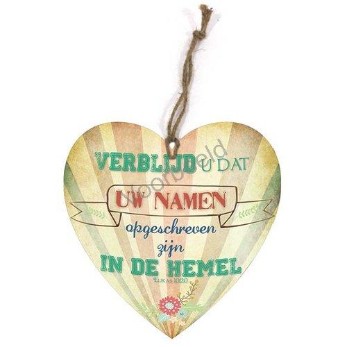 Hartvormig wandbord met de tekst: Verblijd u dat uw namen opgeschreven zijn in de hemel