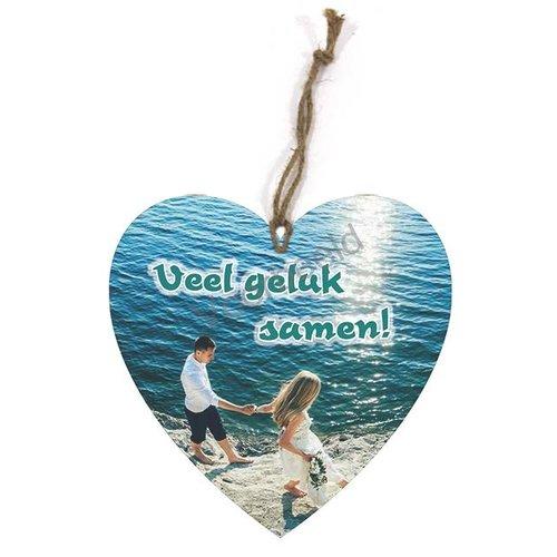Hartvormig wandbord met de tekst: Veel geluk samen!