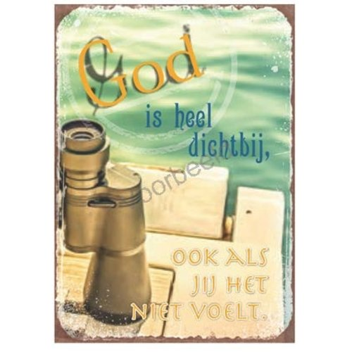 Magneet 5x7 met de tekst: God is heel dichtbij, ook als je het niet voelt.