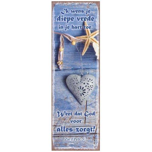 Magneet 5x15 met de tekst: Ik wens je diepe vrede in je hart toe. Weet dat God voor alles zorgt!