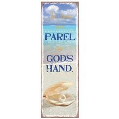 Magneet 5x15 met de tekst: Je bent een parel in Gods hand.