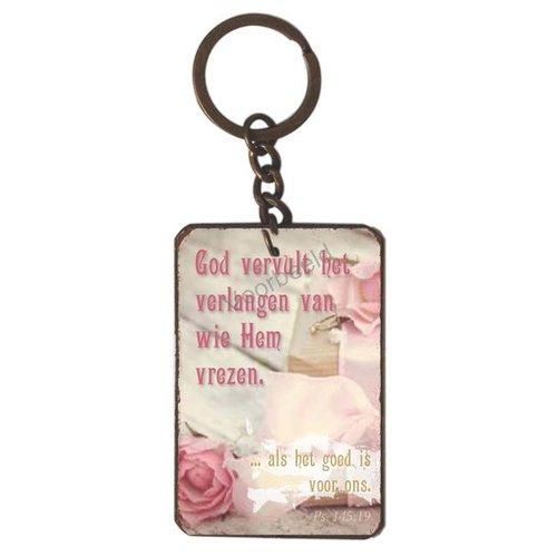 Sleutelhanger met de tekst: God vervult het verlangen van wie Hem vrezen..