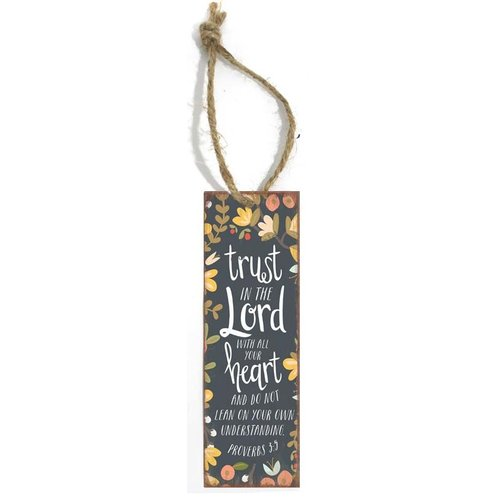 Boekenlegger met tekst (5x15 cm): Trust in the Lord with all your heart