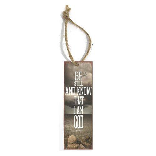 Boekenlegger met tekst (5x15 cm): Be still and know that I am God